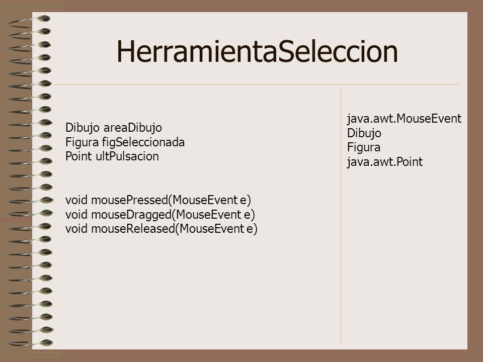 HerramientaSeleccion Dibujo areaDibujo Figura figSeleccionada Point ultPulsacion void mousePressed(MouseEvent e) void mouseDragged(MouseEvent e) void mouseReleased(MouseEvent e) java.awt.MouseEvent Dibujo Figura java.awt.Point
