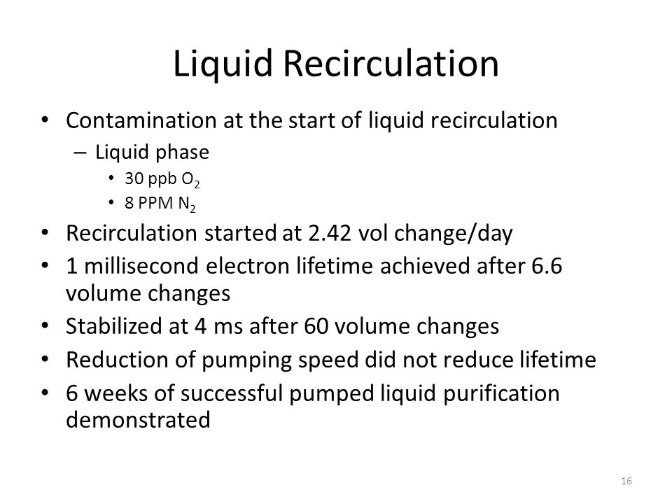 Liquid Recirculation Contamination at the start of liquid recirculation – Liquid phase 30 ppb O 2 8 PPM N 2 Recirculation started at 2.42 vol change/day 1 millisecond electron lifetime achieved after 6.6 volume changes Stabilized at 4 ms after 60 volume changes Reduction of pumping speed did not reduce lifetime 6 weeks of successful pumped liquid purification demonstrated 16