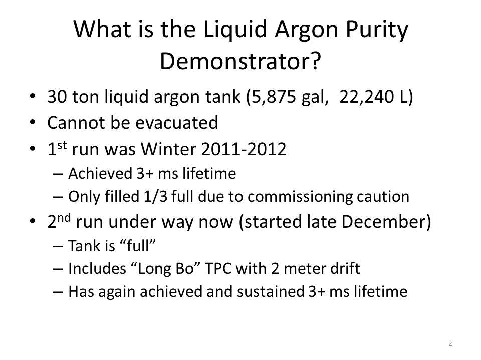 3 10 feet Purity monitors Room temperature feed thrus Foam insulation GAr Mole sieve Cu O 2 filter LAr pump Condenser Long Bo TPC LAr