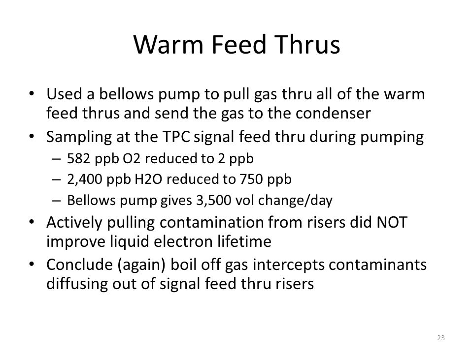 Warm Feed Thrus Used a bellows pump to pull gas thru all of the warm feed thrus and send the gas to the condenser Sampling at the TPC signal feed thru during pumping – 582 ppb O2 reduced to 2 ppb – 2,400 ppb H2O reduced to 750 ppb – Bellows pump gives 3,500 vol change/day Actively pulling contamination from risers did NOT improve liquid electron lifetime Conclude (again) boil off gas intercepts contaminants diffusing out of signal feed thru risers 23