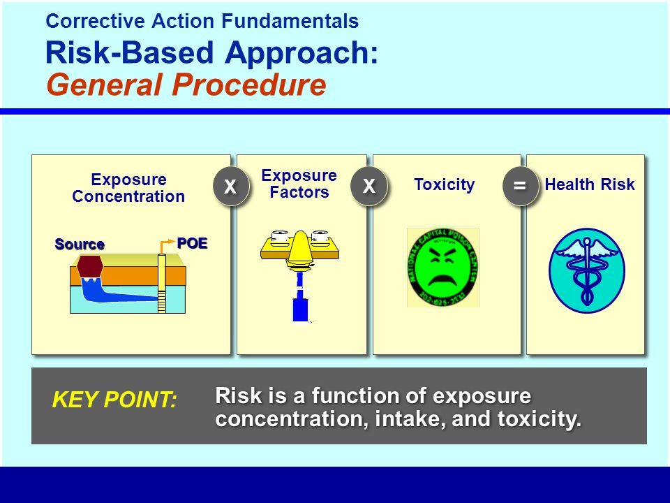 Risk is a function of exposure concentration, intake, and toxicity.