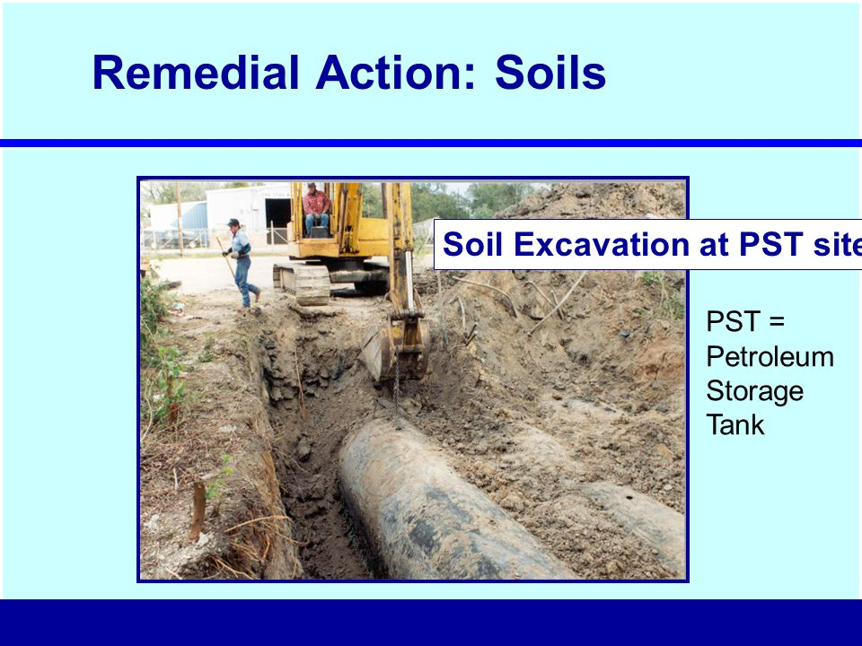Soil Excavation at PST site Remedial Action: Soils PST = Petroleum Storage Tank