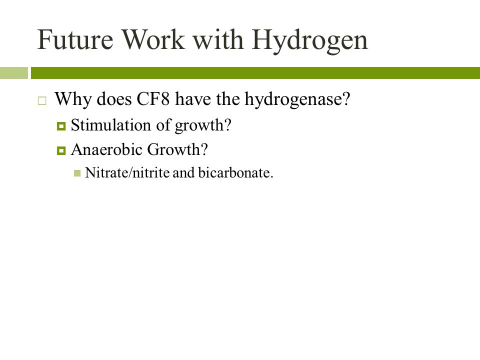 Future Work with Hydrogen  Why does CF8 have the hydrogenase.
