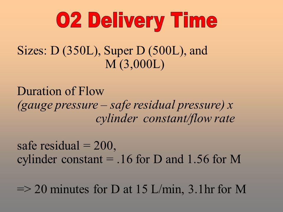 Sizes: D (350L), Super D (500L), and M (3,000L) Duration of Flow (gauge pressure – safe residual pressure) x cylinder constant/flow rate safe residual = 200, cylinder constant =.16 for D and 1.56 for M => 20 minutes for D at 15 L/min, 3.1hr for M