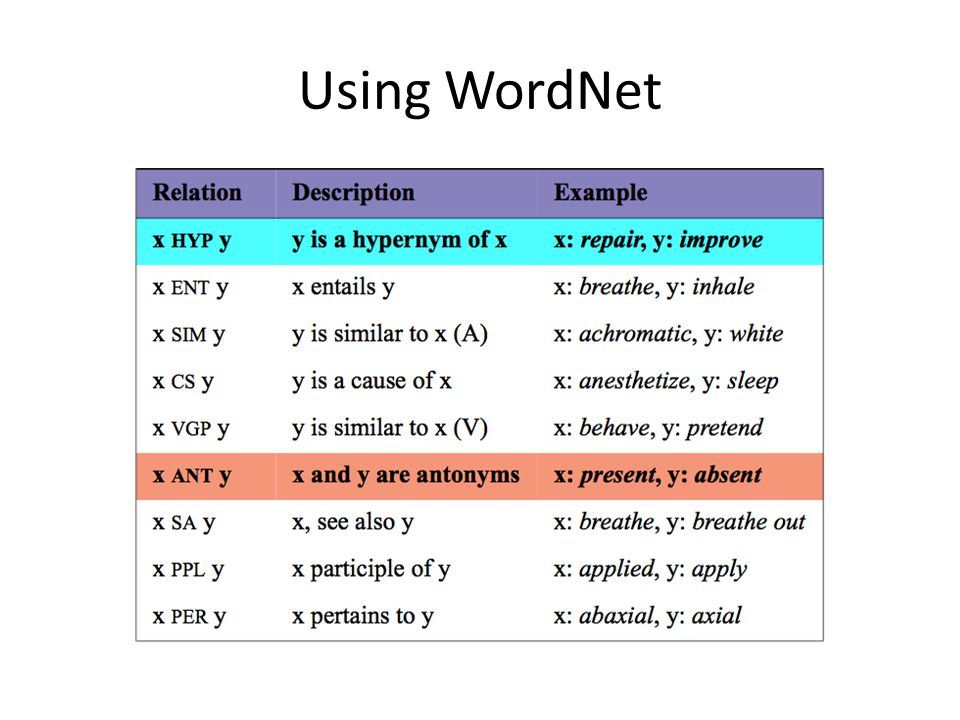 Using WordNet