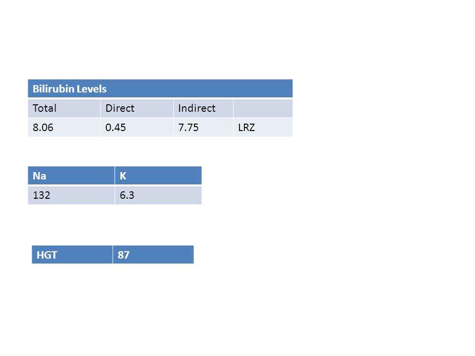 Bilirubin Levels TotalDirectIndirect 8.060.457.75LRZ NaK 1326.3 HGT87