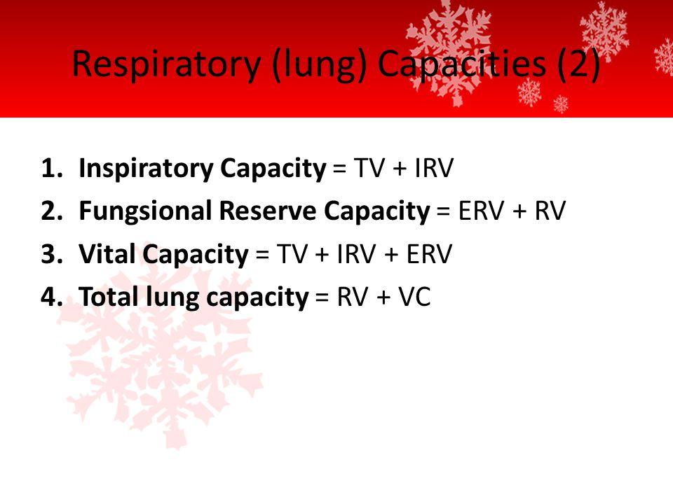 Respiratory (lung) Capacities (2) 1.Inspiratory Capacity = TV + IRV 2.Fungsional Reserve Capacity = ERV + RV 3.Vital Capacity = TV + IRV + ERV 4.Total lung capacity = RV + VC