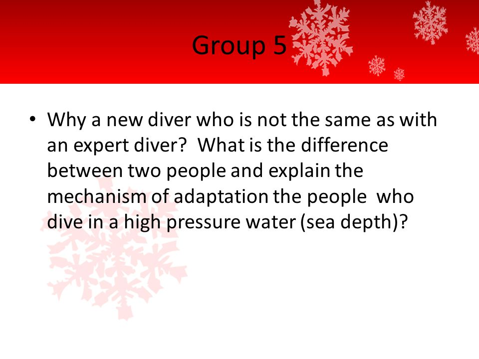 Group 5 Why a new diver who is not the same as with an expert diver.
