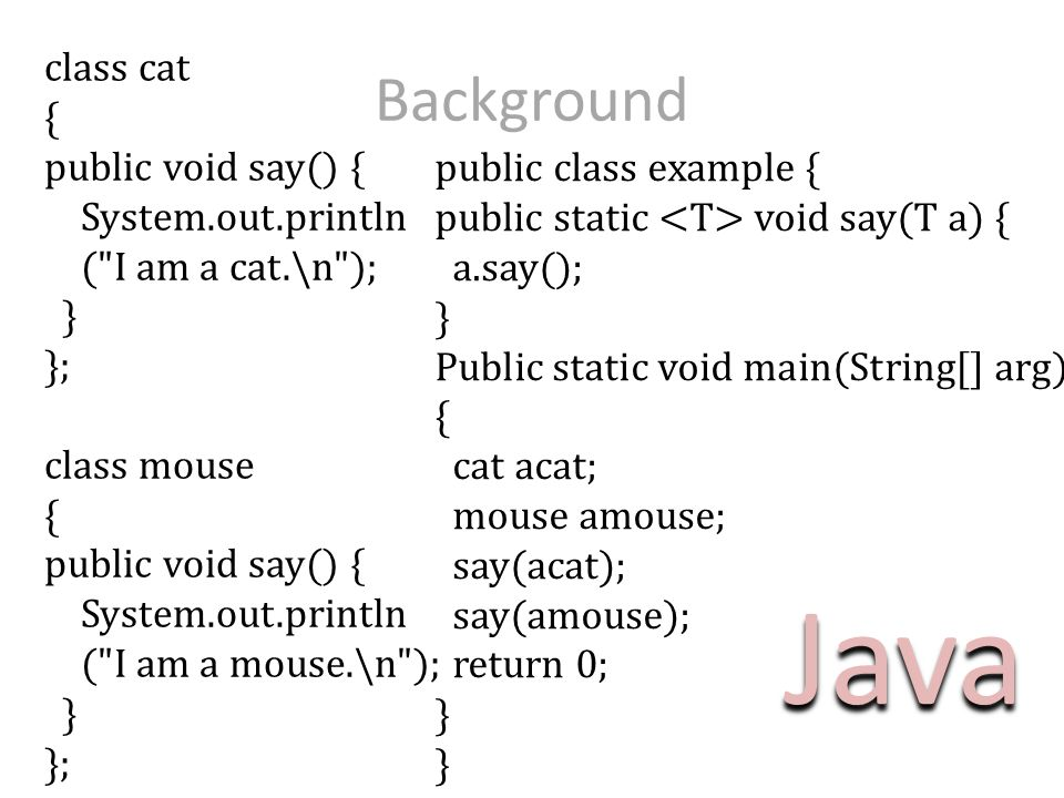 class cat { public void say() { System.out.println (