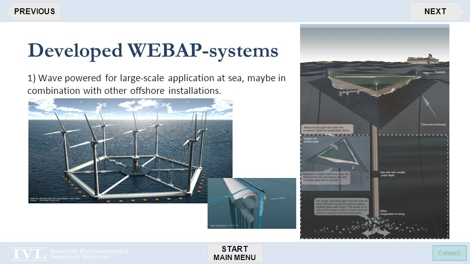 START MAIN MENU Contact NEXTPREVIOUS Developed WEBAP-systems 1) Wave powered for large-scale application at sea, maybe in combination with other offshore installations.