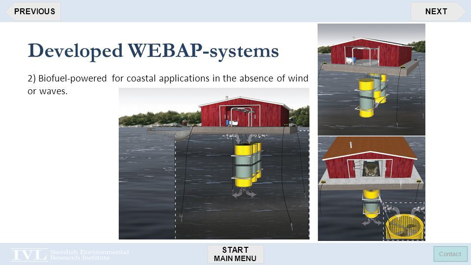 START MAIN MENU Contact NEXTPREVIOUS Developed WEBAP-systems 2) Biofuel-powered for coastal applications in the absence of wind or waves.