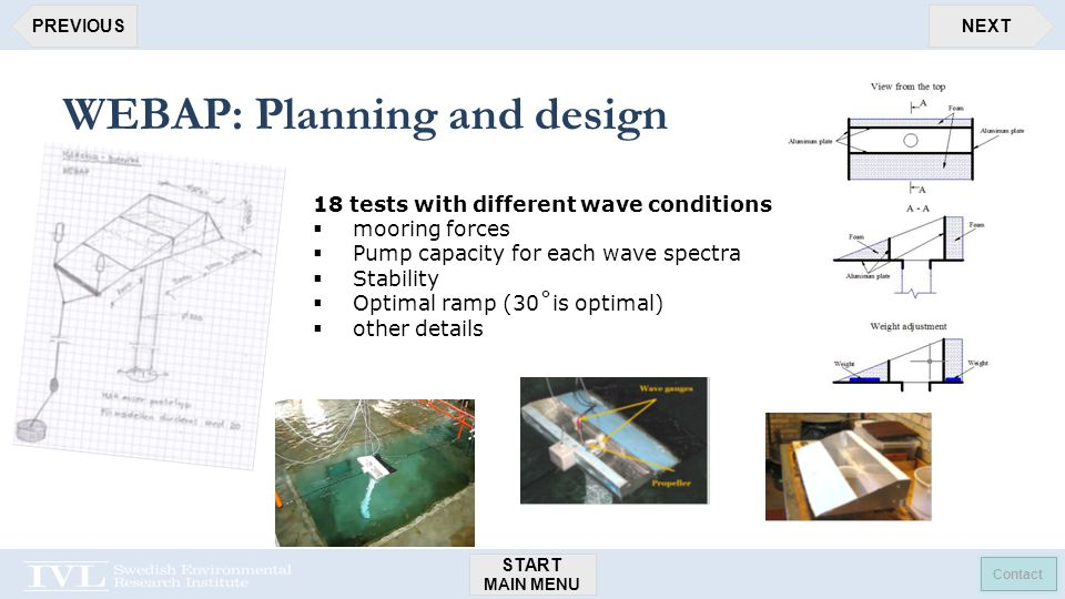 START MAIN MENU Contact NEXTPREVIOUS WEBAP: Planning and design 18 tests with different wave conditions  mooring forces  Pump capacity for each wave spectra  Stability  Optimal ramp (30˚is optimal)  other details