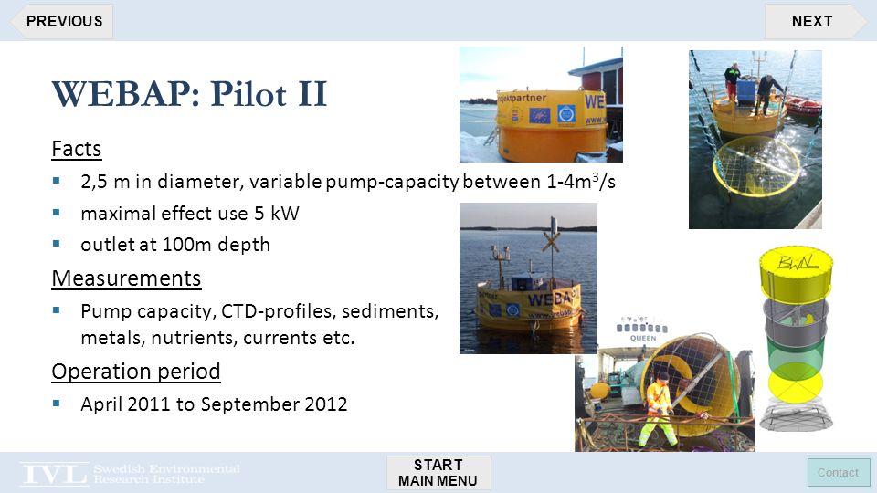 START MAIN MENU Contact NEXTPREVIOUS WEBAP: Pilot II Facts  2,5 m in diameter, variable pump-capacity between 1-4m 3 /s  maximal effect use 5 kW  outlet at 100m depth Measurements  Pump capacity, CTD-profiles, sediments, metals, nutrients, currents etc.