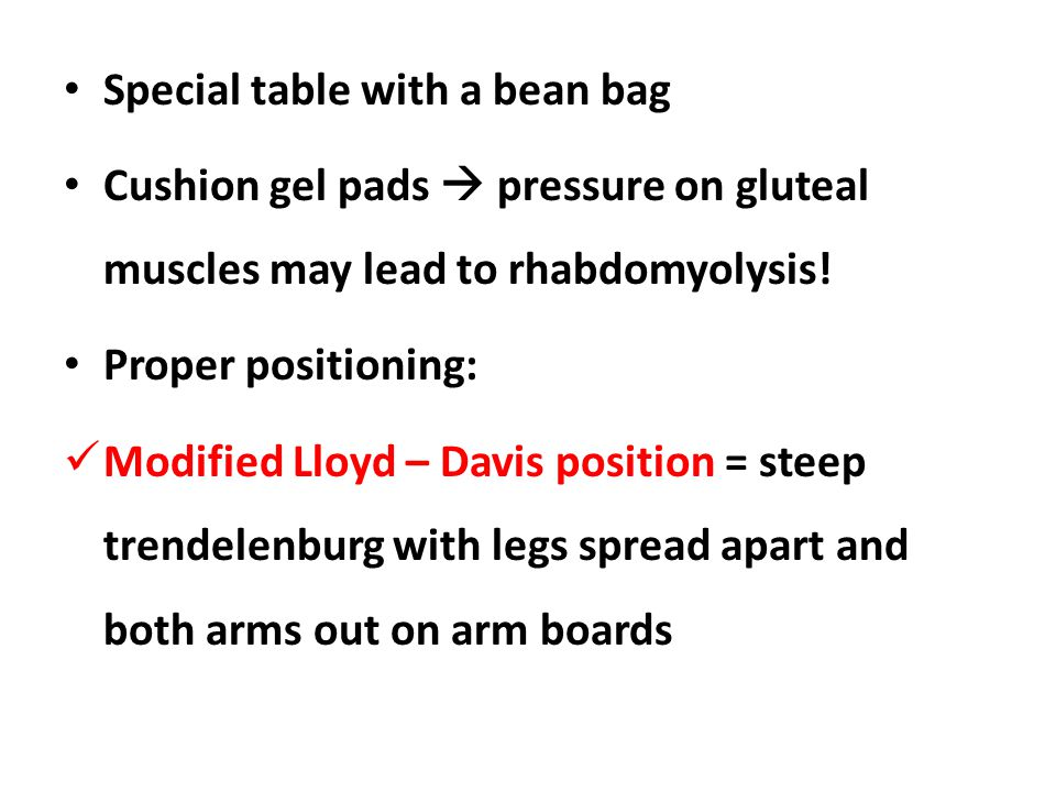Special table with a bean bag Cushion gel pads  pressure on gluteal muscles may lead to rhabdomyolysis.