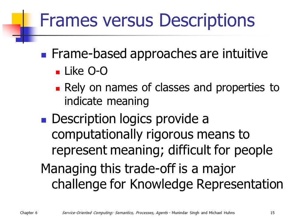 Chapter 615Service-Oriented Computing: Semantics, Processes, Agents - Munindar Singh and Michael Huhns Frames versus Descriptions Frame-based approach