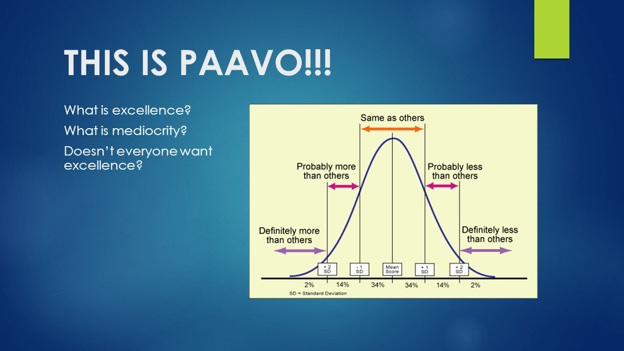 THIS IS PAAVO!!! What is excellence? What is mediocrity? Doesn't everyone want excellence?