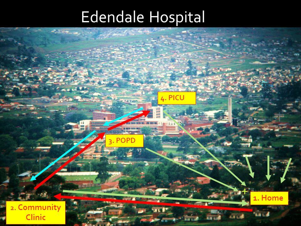 Edendale Hospital 1. Home 3. POPD 2. Community Clinic 4. PICU +