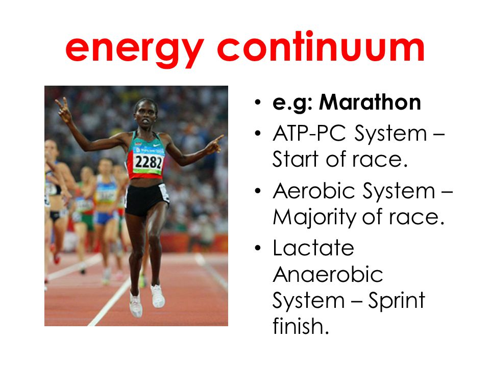 energy continuum e.g: Marathon ATP-PC System – Start of race. Aerobic System – Majority of race. Lactate Anaerobic System – Sprint finish.