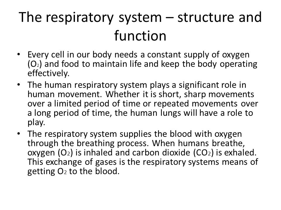 The respiratory system – structure and function Every cell in our body needs a constant supply of oxygen (O 2 ) and food to maintain life and keep the body operating effectively.