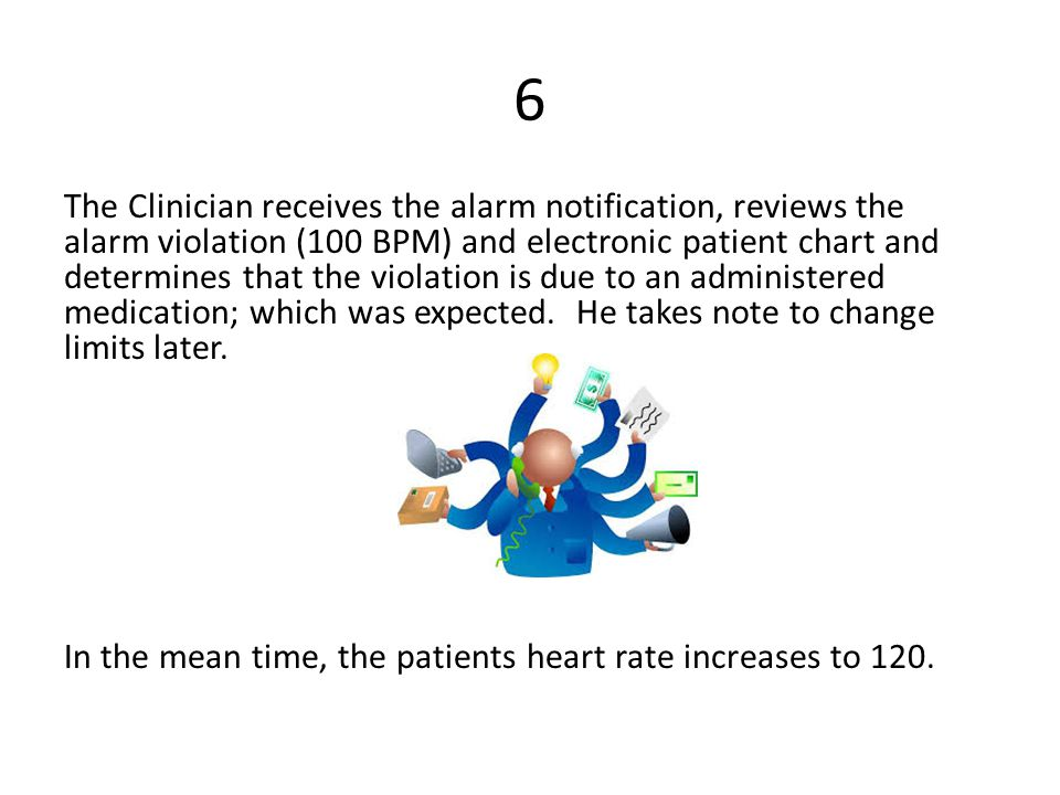 6 The Clinician receives the alarm notification, reviews the alarm violation (100 BPM) and electronic patient chart and determines that the violation is due to an administered medication; which was expected.