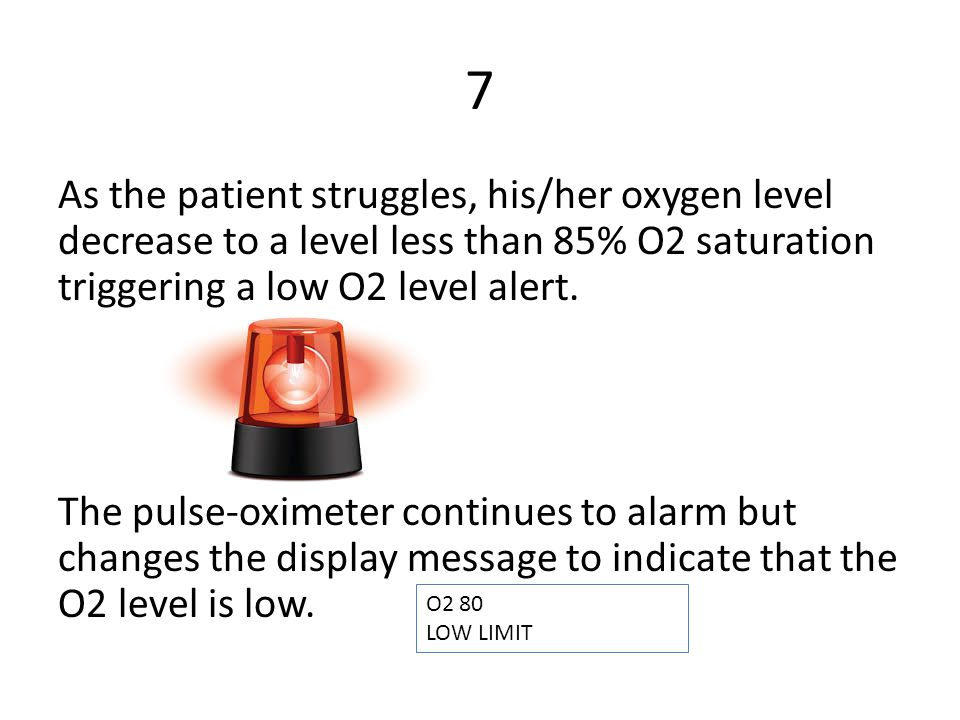 7 As the patient struggles, his/her oxygen level decrease to a level less than 85% O2 saturation triggering a low O2 level alert.