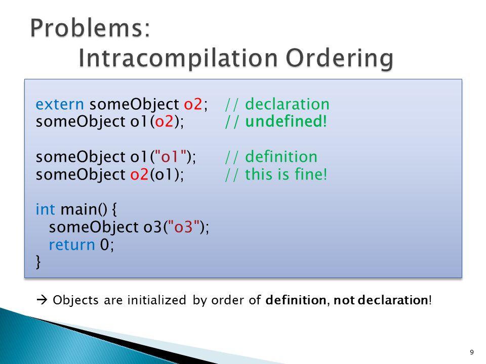 extern someObject o2;// declaration someObject o1(o2);// undefined.