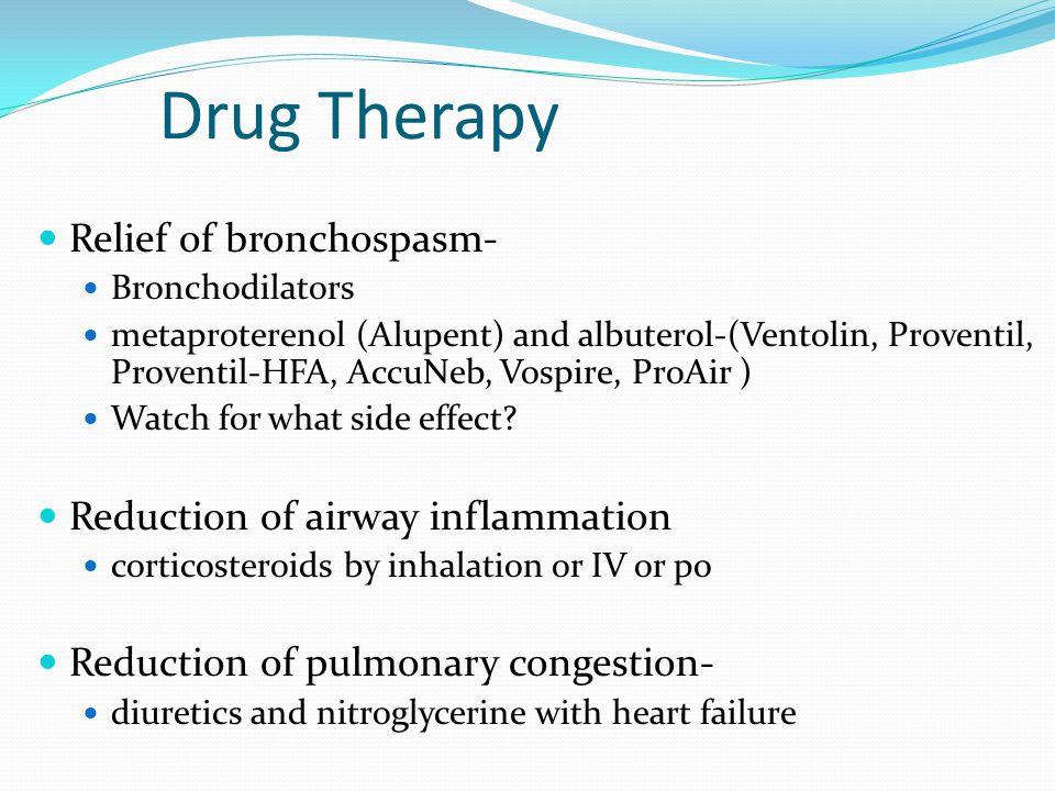 Drug Therapy Relief of bronchospasm- Bronchodilators metaproterenol (Alupent) and albuterol-(Ventolin, Proventil, Proventil-HFA, AccuNeb, Vospire, Pro