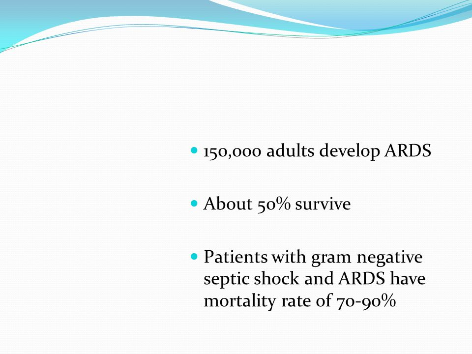 150,000 adults develop ARDS About 50% survive Patients with gram negative septic shock and ARDS have mortality rate of 70-90%