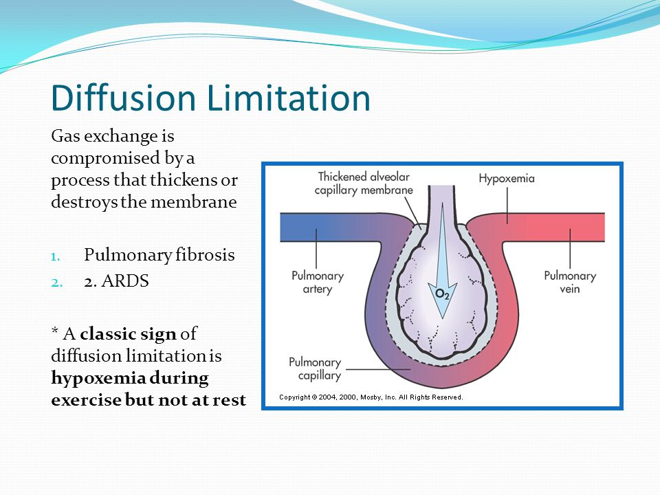 Diffusion Limitation Gas exchange is compromised by a process that thickens or destroys the membrane 1. Pulmonary fibrosis 2. 2. ARDS * A classic sign