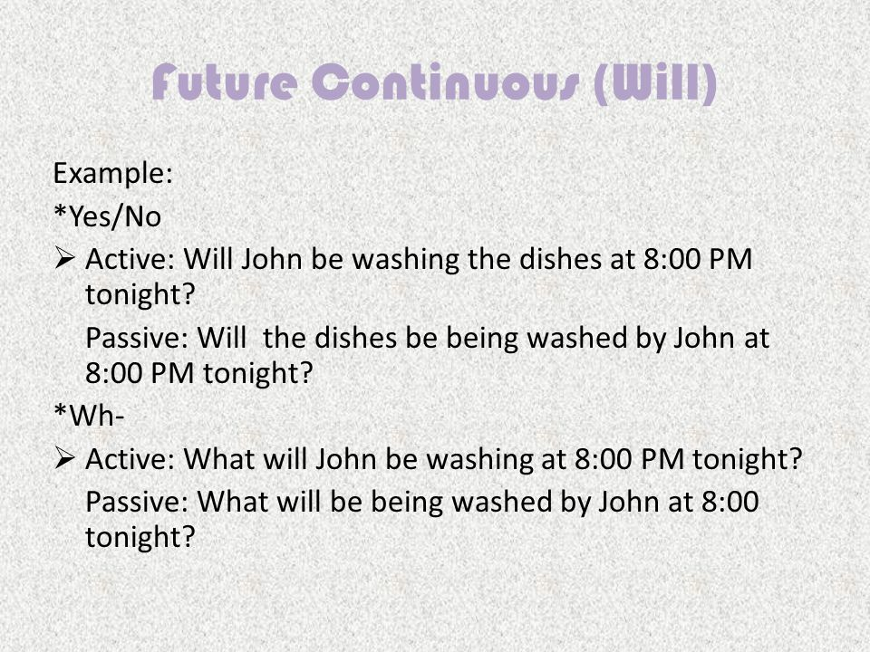 Example: *Yes/No AActive: Will John be washing the dishes at 8:00 PM tonight.