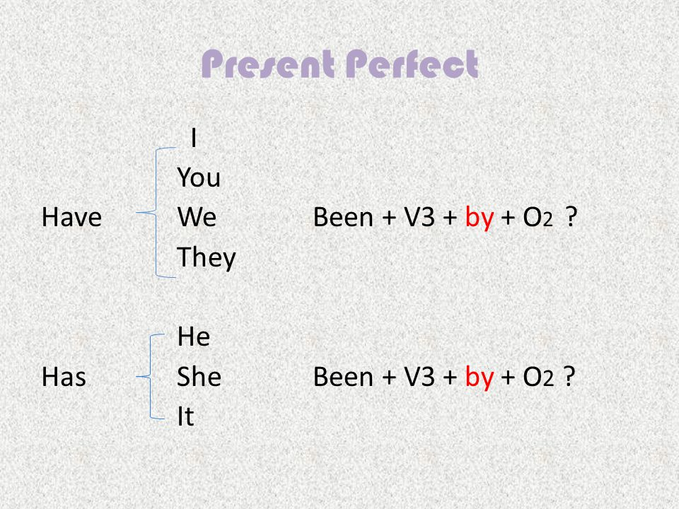 Present Perfect I You HaveWe Been + V3 + by + O 2 They HeHe HasShe Been + V3 + by + O 2 ItIt
