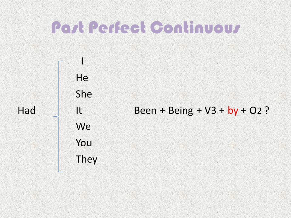 Past Perfect Continuous I HeHe She HadItBeen + Being + V3 + by + O 2 WeWe You They