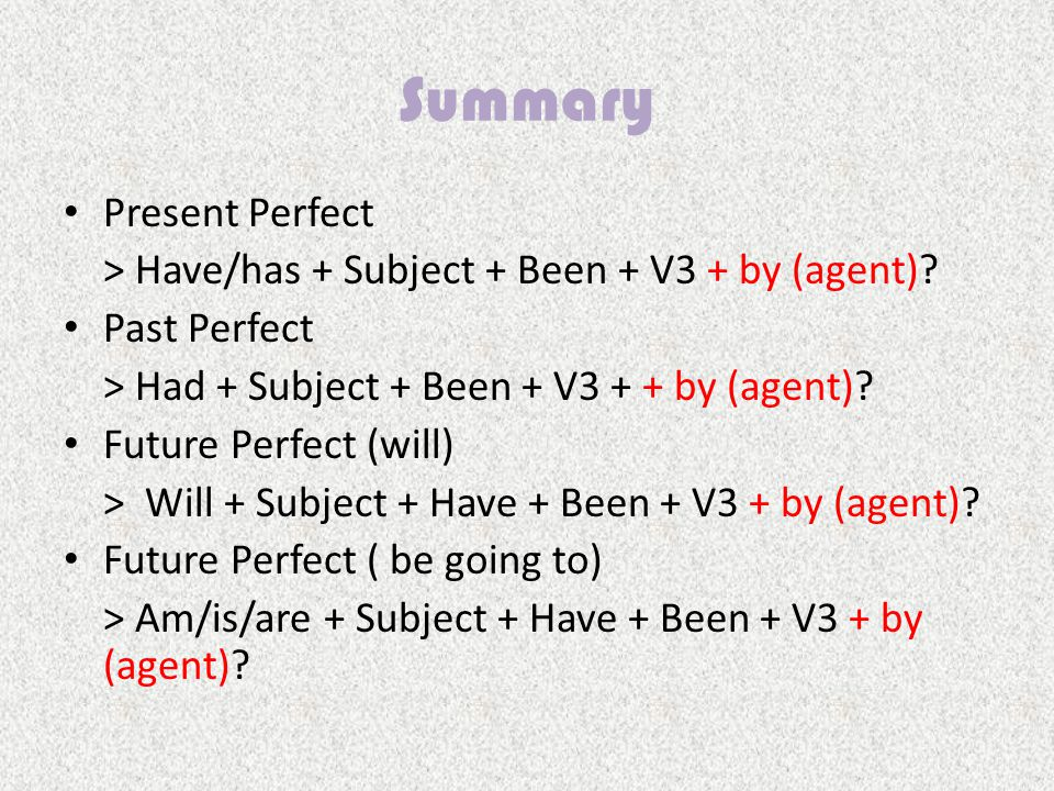 Summary Present Perfect > Have/has + Subject + Been + V3 + by (agent).