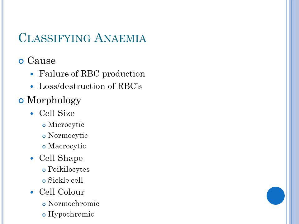 I RON D EFICIENCY A NAEMIA Hypochromic, microcytic anaemia.