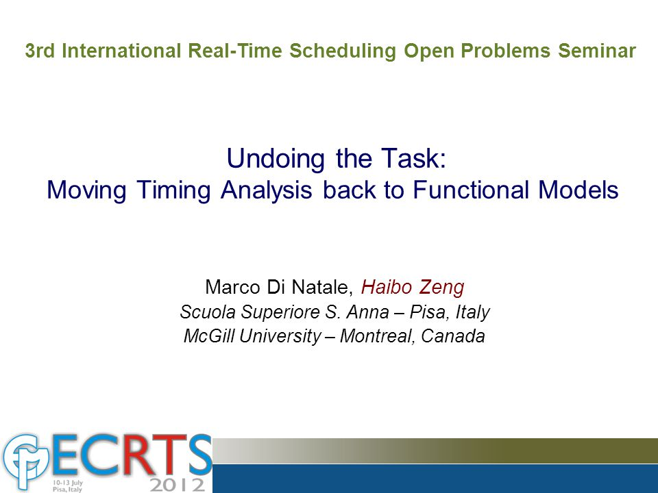 Model-based Design Popular in many application domains of real-time systems –Automotive –Avionics To deal with complexity –Model everything for design (engineering) and analysis (science) –It is necessary to select a modeling language in the most natural and easy way The four tenets on the right are fundamental to model-based design by Ali Behboodian, DSP Magazine Undoing the Task: Moving Timing Analysis back to Functional Models M.