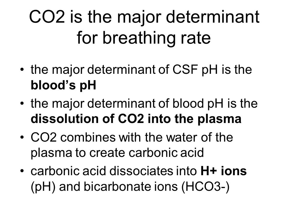 CO2 is the major determinant for breathing rate the major determinant of CSF pH is the blood's pH the major determinant of blood pH is the dissolution