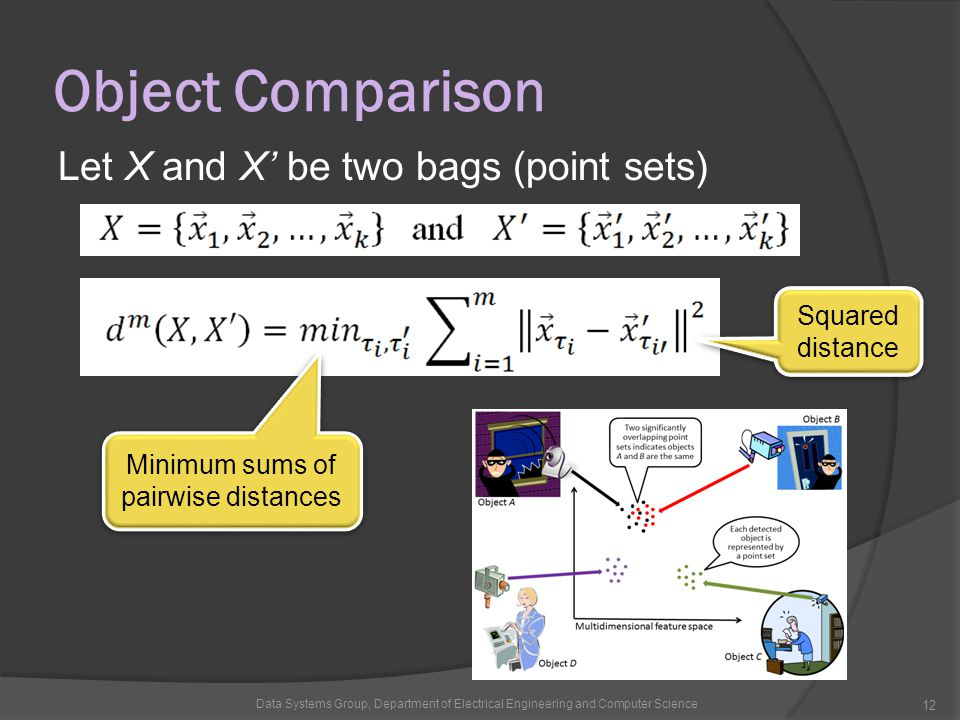Object Comparison Let X and X' be two bags (point sets) Data Systems Group, Department of Electrical Engineering and Computer Science 12 Minimum sums of pairwise distances Squared distance