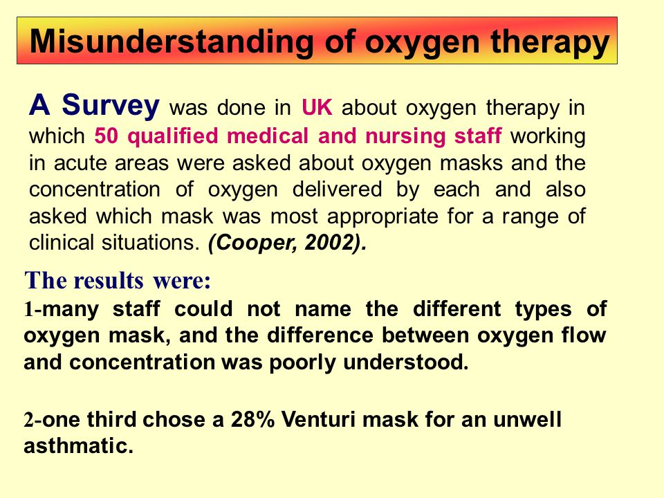 A Survey was done in UK about oxygen therapy in which 50 qualified medical and nursing staff working in acute areas were asked about oxygen masks and the concentration of oxygen delivered by each and also asked which mask was most appropriate for a range of clinical situations.