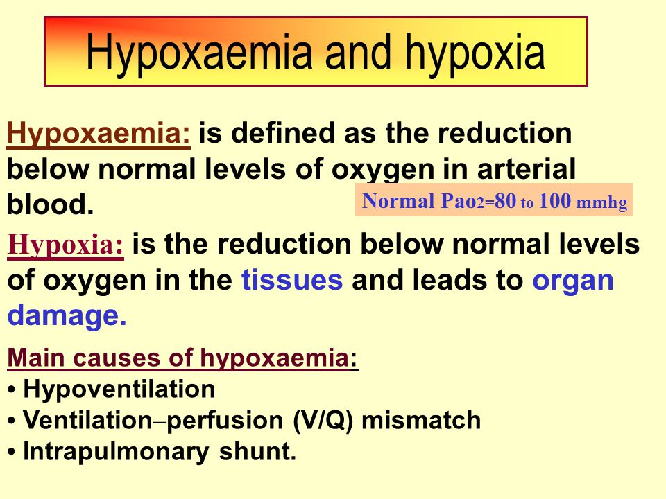 Hypoxaemia and hypoxia Hypoxaemia: is defined as the reduction below normal levels of oxygen in arterial blood.
