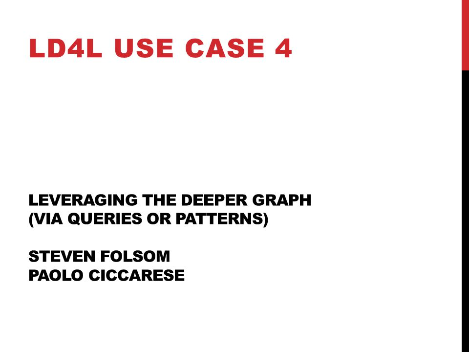 LEVERAGING THE DEEPER GRAPH (VIA QUERIES OR PATTERNS) STEVEN FOLSOM PAOLO CICCARESE LD4L USE CASE 4