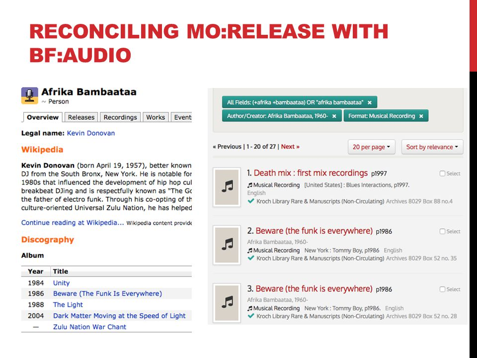 RECONCILING MO:RELEASE WITH BF:AUDIO