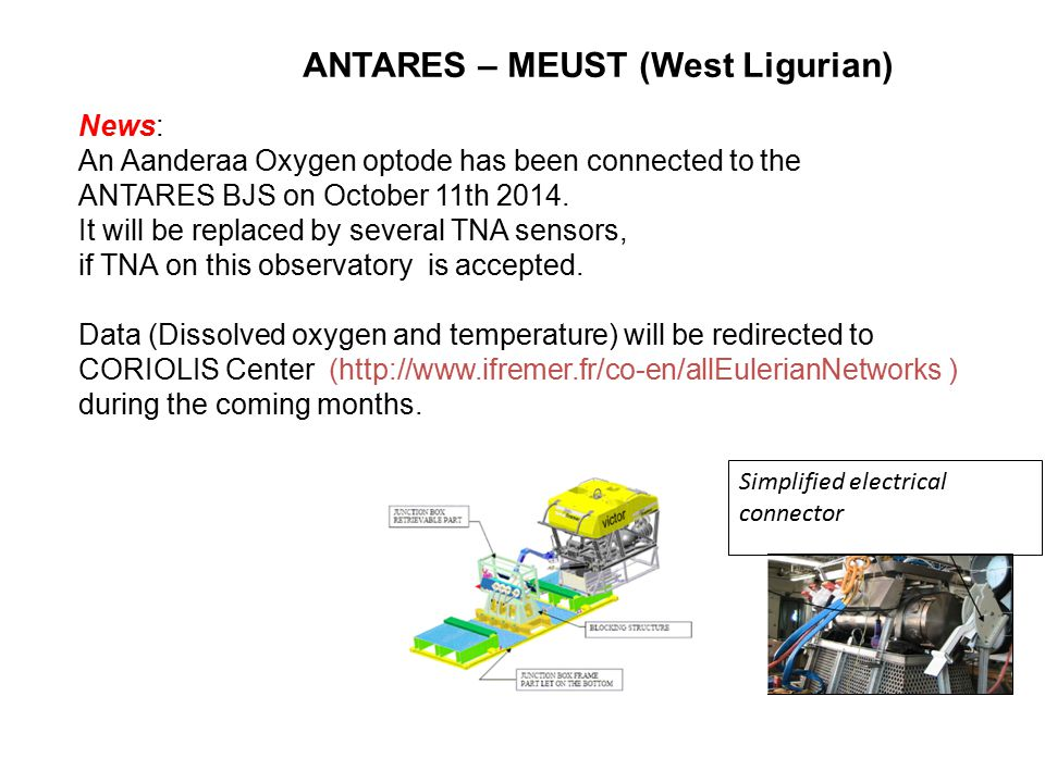 ANTARES – MEUST (West Ligurian) Simplified electrical connector News: An Aanderaa Oxygen optode has been connected to the ANTARES BJS on October 11th
