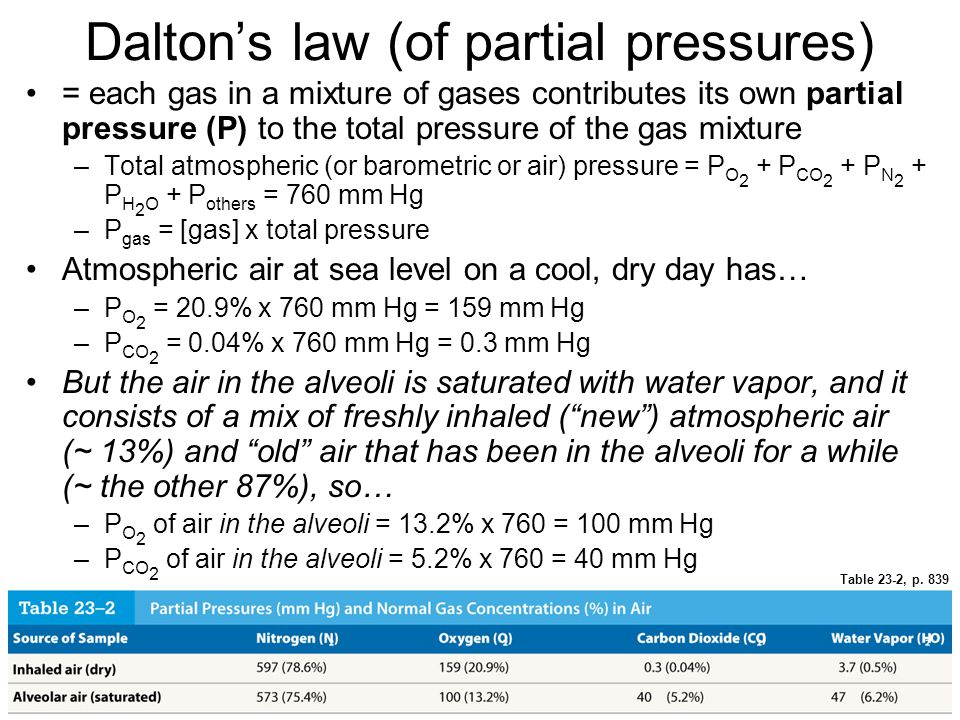 Dalton's law (of partial pressures) = each gas in a mixture of gases contributes its own partial pressure (P) to the total pressure of the gas mixture