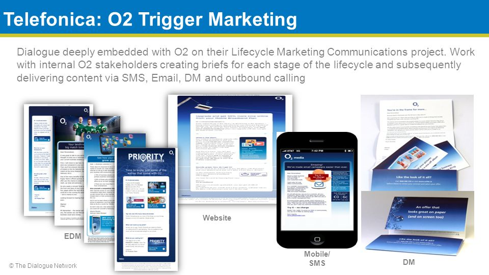 © The Dialogue Network Dialogue deeply embedded with O2 on their Lifecycle Marketing Communications project.