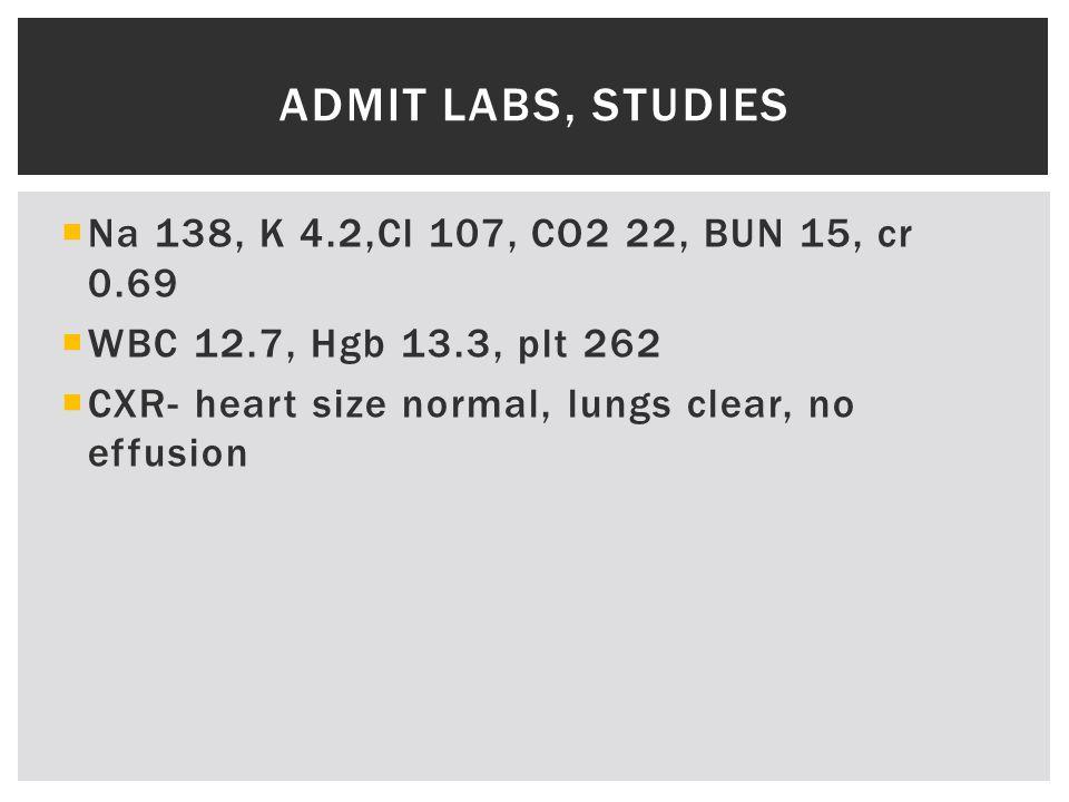  Na 138, K 4.2,Cl 107, CO2 22, BUN 15, cr 0.69  WBC 12.7, Hgb 13.3, plt 262  CXR- heart size normal, lungs clear, no effusion ADMIT LABS, STUDIES