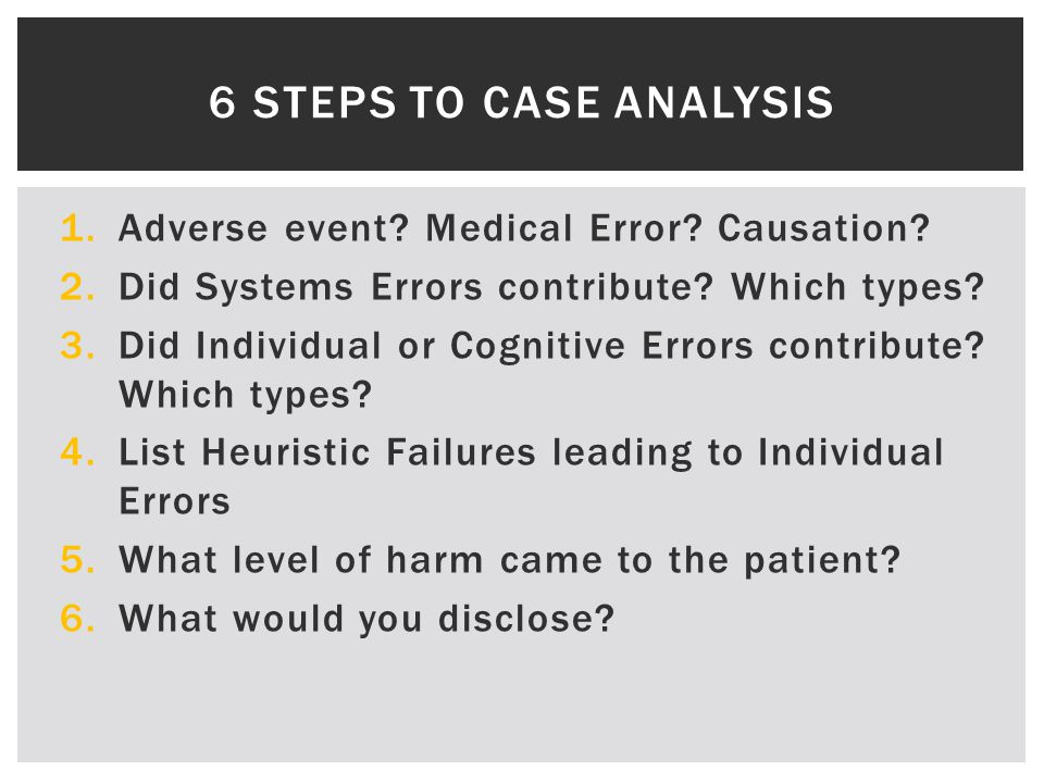 1.Adverse event.Medical Error. Causation. 2.Did Systems Errors contribute.