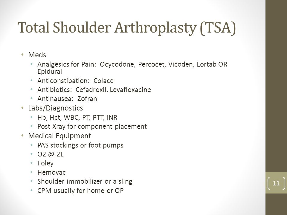 Total Shoulder Arthroplasty (TSA) Meds Analgesics for Pain: Ocycodone, Percocet, Vicoden, Lortab OR Epidural Anticonstipation: Colace Antibiotics: Cef