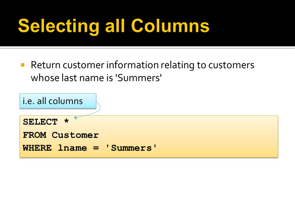  Return customer information relating to customers whose last name is 'Summers' SELECT * FROM Customer WHERE lname = 'Summers' SELECT * FROM Customer