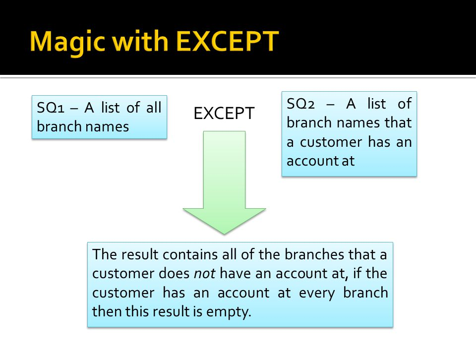 SQ1 – A list of all branch names SQ2 – A list of branch names that a customer has an account at EXCEPT The result contains all of the branches that a customer does not have an account at, if the customer has an account at every branch then this result is empty.