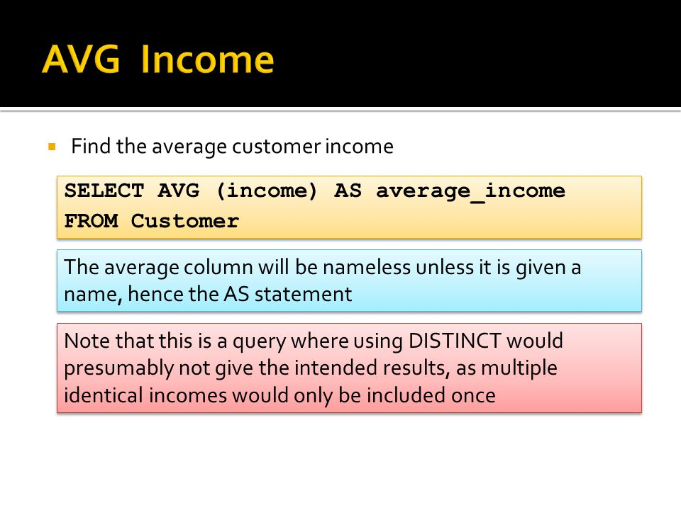  Find the average customer income SELECT AVG (income) AS average_income FROM Customer SELECT AVG (income) AS average_income FROM Customer The average column will be nameless unless it is given a name, hence the AS statement Note that this is a query where using DISTINCT would presumably not give the intended results, as multiple identical incomes would only be included once